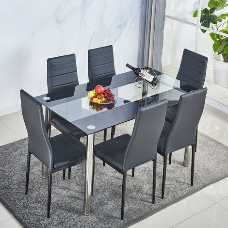 Lot de 6 chaises de salle à manger en simili, Chaise de cuisine,cuir artificiel, Style contemporain, noir-Meerveil