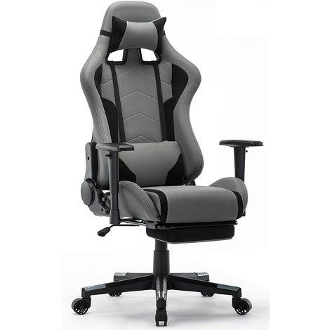 Chaise Gaming avec Repos-pieds - Fauteuil Gaming Chaise de Bureau Ergonomique - Siège Pivotant - Gris - IntimaTe WM Heart - GRIS