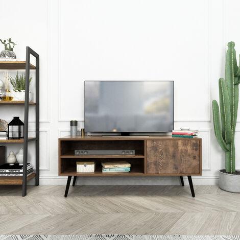 Meuble TV en bois Style industriel Pieds en métal avec étagères et trous de câble pour salon (1 porte) - Mondeer
