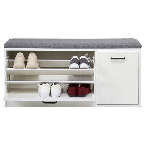 Banc à Chaussures-Meuble de Rangement pour Chaussures, Coussin Rembourré, en Bois, Pou Entrée, Couloir, Blanc-Meerveil