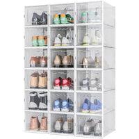 Boîte à Chaussures, Boîte de Rangement Transparent et Pliable pour Chaussures ,avec Porte,Lot de 18,M - Meerveil