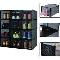 Meerveil Boîte à Chaussures, Boîte de Rangement en Plastique pour Chaussures ,avec Porte,Pliable,Lot de 12,Noir, M