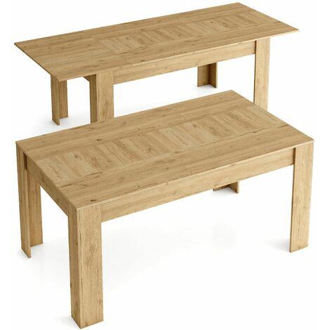 Table de Salle a manger de 140cm extensible 200cm, Couleur Naturale mat, Mesures: 90.4 Largeur x 140.4/200.4 Longueur 76.1 Hauteur