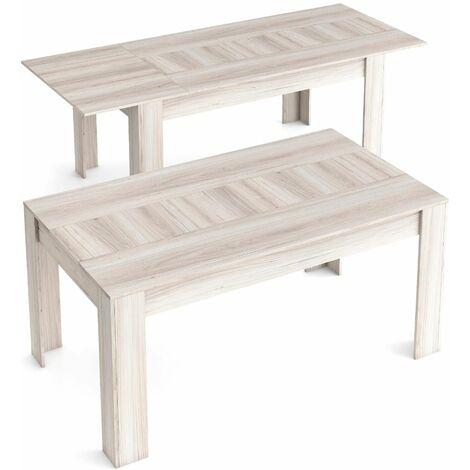 Table de Salle à manger de 140cm extensible 200cm, Couleur Shamal, Mesures: 90.4 Largeur x 140.4/200.4 Longueur 76.1 Hauteur