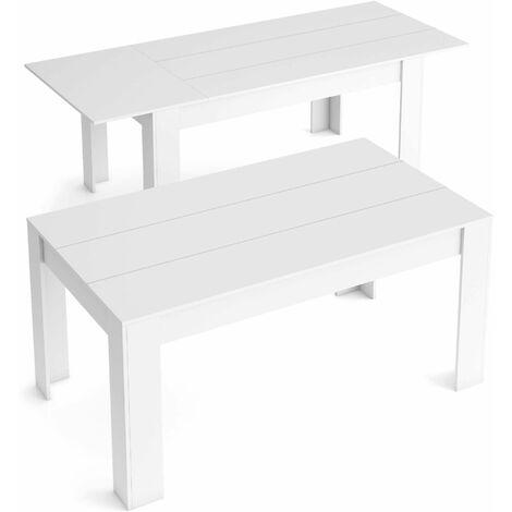 Table de Salle à manger de 140cm extensible 200cm, Couleur Blanc mat, Mesures: 90.4 Largeur x 140.4/200.4 Longueur 76.1 Hauteur