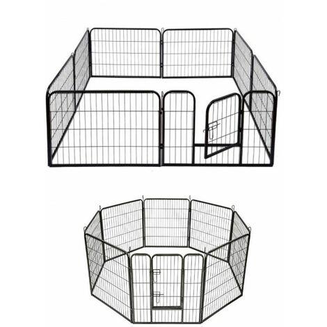 Parc modulable à chiots, enclos à chiens acier 240 x 80 x Ht. 80 cm avec porte d'accès - Animood