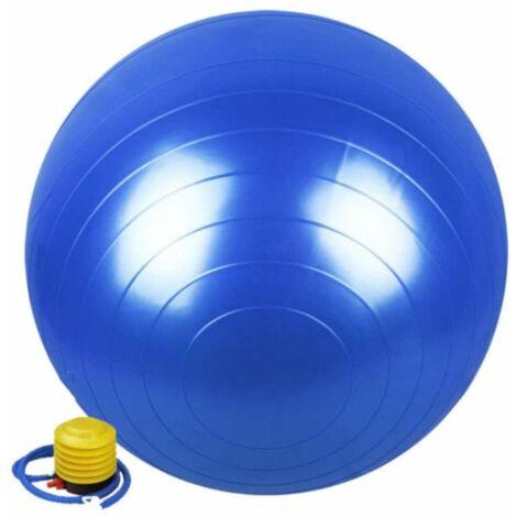 Ballon de gymnastique / fitness / grossesse anti-éclatement D. 65 cm en PVC (Bleu) + pompe de gonflage - D-Work