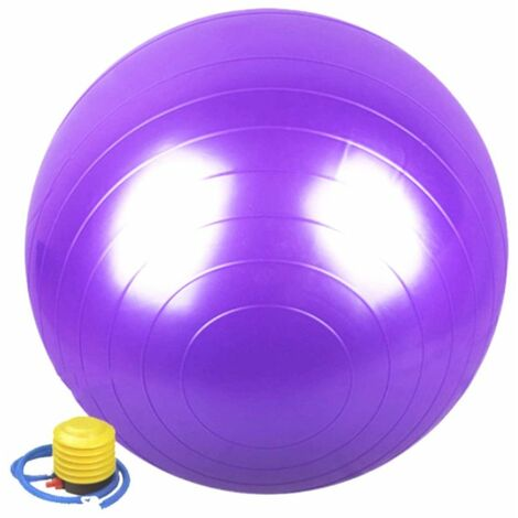 Ballon de gymnastique / fitness / grossesse anti-éclatement D. 65 cm en PVC (Violet) + pompe de gonflage - D-Work