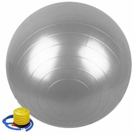 Ballon de gymnastique / fitness / grossesse anti-éclatement D. 65 cm en PVC (Gris) + pompe de gonflage - D-Work