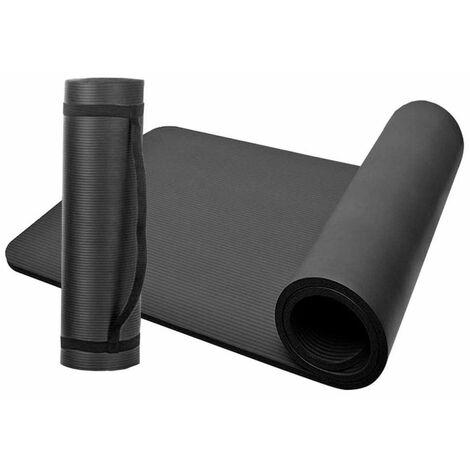 Tapis de sol gymnastique, tapis fitness, tapis yoga 183 x 61 x 1 cm en NBR (Noir) - D-Work