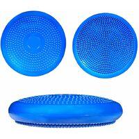 Coussin d'équilibre de gymnastique/ fitness anti-éclatement 2 faces D. 33 cm en PVC (Bleu) + pompe de gonflage - D-Work