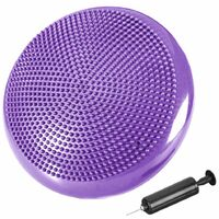 Coussin d'équilibre de gymnastique/ fitness anti-éclatement 2 faces D. 33 cm en PVC (Violet) + pompe de gonflage - D-Work
