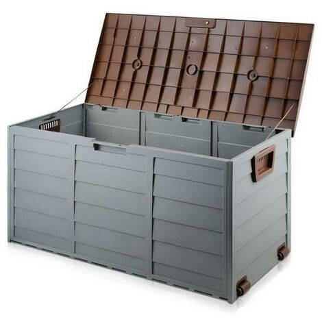 BROWN OUTDOOR GARDEN PLASTIC STORAGE SEAT UTILITY CHEST CUSHION SHED BOX TOOLS