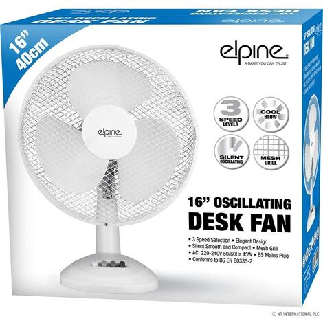 """16"""" OSCILLATING TABLE DESK FAN COOLING AIR 3 SPEED HOME OFFICE 45W BASE SILENT"""
