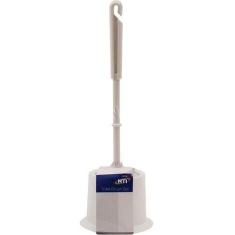 TOILET BRUSH SET FREESTANDING CLEANER BATHROOM WHITE PLASTIC HOLDER WC LOO NEW
