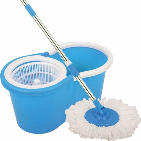 360° SPINNING ROTATING SPIN MOP FLOOR BUCKET KITCHEN 2 MICROFIBRE CLEANING HEAD