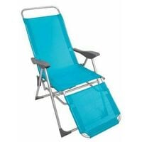 SUN LOUNGER RECLINER CHAIR 2 IN 1 GARDEN FOLDABLE STEEL BLUE OUTDOOR CAMPING NEW