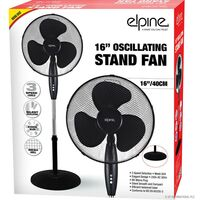 """16"""" OSCILLATING STAND FAN INDOOR ROUND BASE 3 SPEED LEVELS GRILL SUMMER BLACK"""