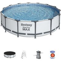 NEW BESTWAY STEEL PRO MAX ROUND FRAME SWIMMING POOL WITH FILTER PUMP GREY 14FT