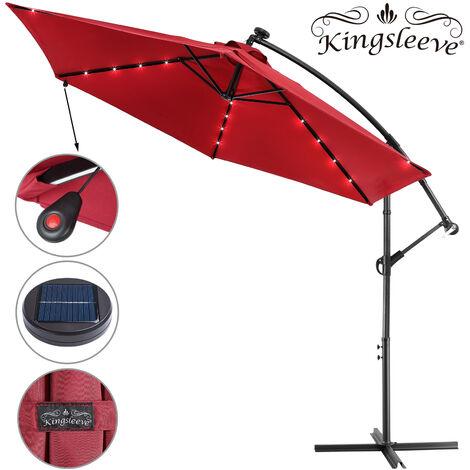 Garden Sun Parasol LED Ø300cm Hanging Umbrella Banana Cantilever Lights Patio Red