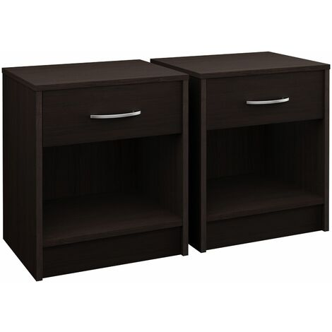 Deuba Bedside Table Nightstand Drawer End Table Bedroom Storage White Grey Oak Cherry Brown Set Of 2 Tables 990273