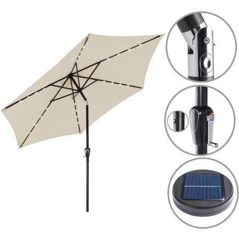 Garden Sun Parasol Patio 24 LED Aluminium Crank Solar 270cm Balcony Cafe Bistro Beige