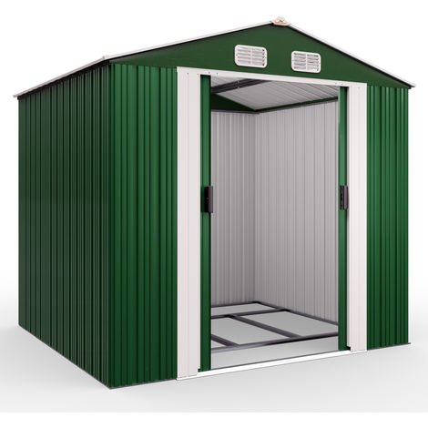 Deuba Garden Metal Tool Shed Size and Colour Choice Galvanised Green Anthracite Brown Roofed Outdoor Storage 8x6ft, Green