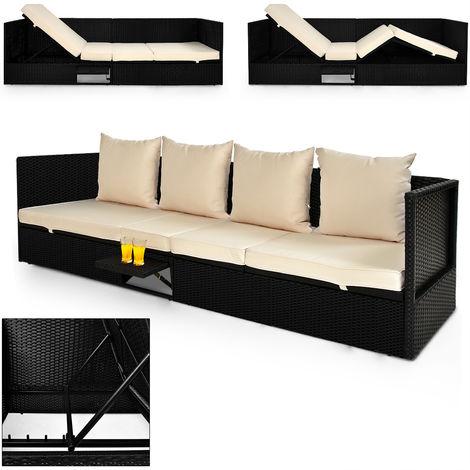 Deuba Poly Rattan Garden Furniture Sofa Bench Outdoor Patio Sun Day Bed Lounger Terrace Balcony Black Recliner (Black Sofa)