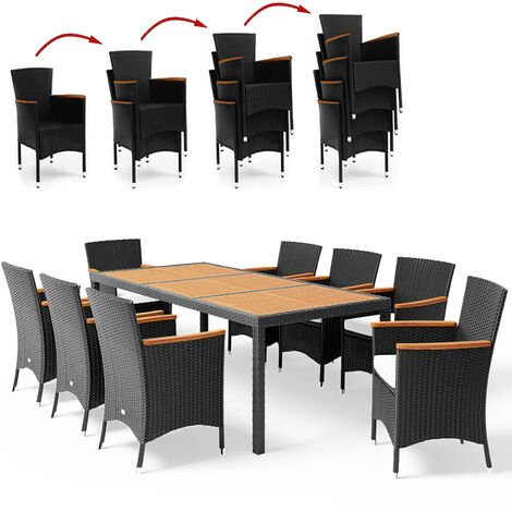 Poly Rattan Garden Furniture Dining Table and Chairs Set Black Outdoor Patio Rectangular 8 Seater 9 Pcs Conservatory