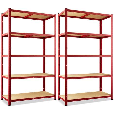 Deuba 2x Shelves Shelving Units Storage Unit Garage Racking Set 5 Tier Metal Rack Boltless Heavy Duty 180 x 90 x 40 cm