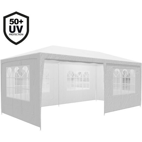 Gazebo 3x6m Marquee Canopy Sun Shade Patio Outdoor Garden Festival Party Tent White (UV-Protection)