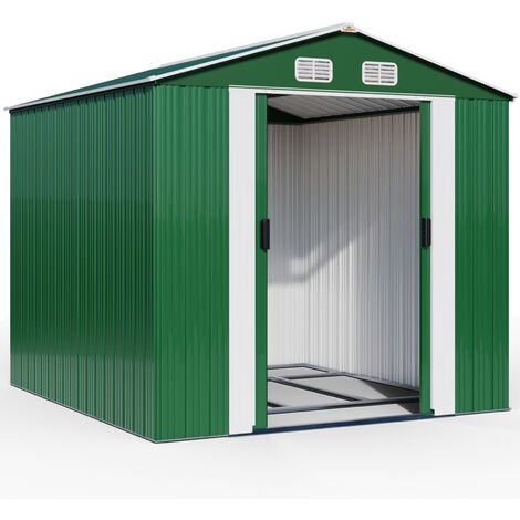 Deuba Garden Metal Tool Shed Size and Colour Choice Galvanised Green Anthracite Brown Roofed Outdoor Storage 10x8ft, Green