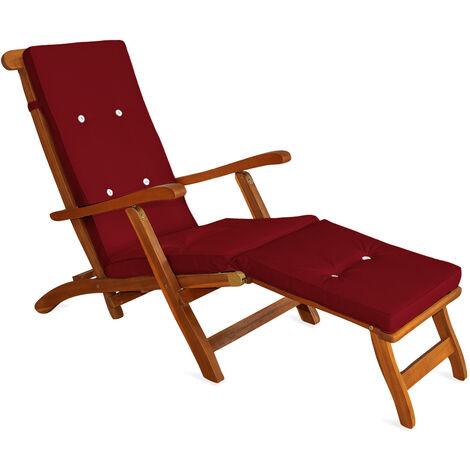 Deuba Sun Lounger Cushions Waterproof Steamer Recliner Relaxer Ties Cushion Seating Pads 173 x 43 cm Red