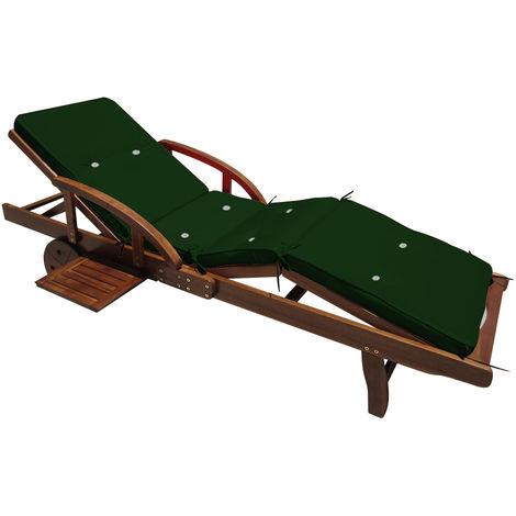 Deuba Sun Lounger Cushions 195 x 55 x 5 cm Pads Waterproof Steamer Recliner Relaxer Seating Cushion Pads Green