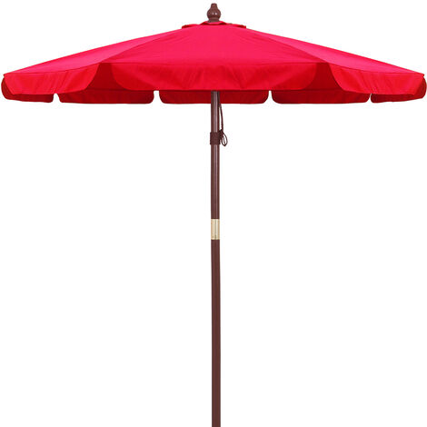 3.3m Garden Sun Parasol Sunshade Wooden Patio Umbrella Wood Pole Canopy Cafe Red