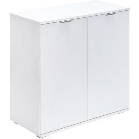 Sideboard Cabinet White Oak Office Furniture Cupboard 2 Door Shelf Drawers Home DB111 - Weiß (de)