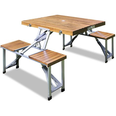 Outdoor Picnic Table and Bench Set Camping Travel BBQ Folding Portable Seat Set
