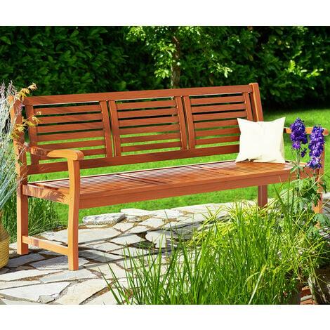 Deuba Garden Bench Bologna Wooden 3 Seater FSC®-Certified Eucalyptus Wood 153 x 90 x 60 cm