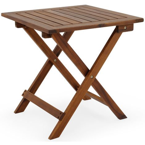 Deuba Coffee Table Small Wood 46 x 46 cm Folding Light Square Side Bistro for Patio Garden Living Room Outdoor