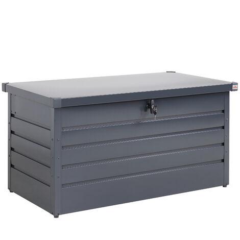 Gardebruk Storage Box Garden Metal 360L Lockable Gas Lift Chest Tool Box Outdoor 120 x 62 x 63 cm (47 x 24 x 25 IN) Grey Safe