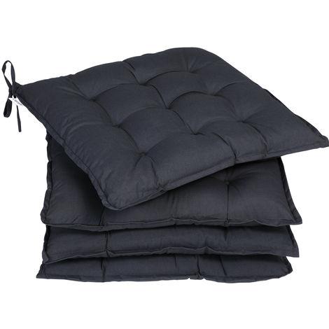 Detex 4x Seat Cushion Chair Pads Indoor Outdoor Memory Foam Visco Elastic Weatherproof Anthracite