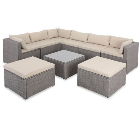 Casaria Poly Rattan XXL Lounge Set With Thick Cushions + 2 Stools Seating Group Garden Lounge Furniture Set beige-grau/beige (de)