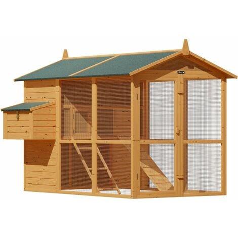 Deuba Wooden Chicken Coop 148 x 151 x 148 cm Brown House Hen Poultry Rabbit Chicken Run Nest Box