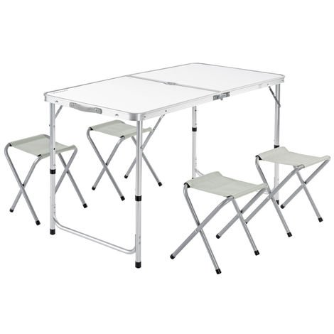 Garden Camping Table and Chairs Set - Folding and Space-saving White