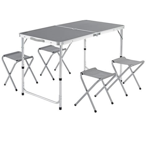 Garden Camping Table and Chairs Set - Folding and Space-saving Grey