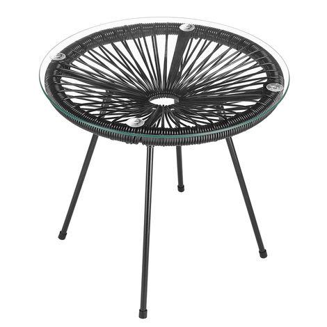 Casaria Side Table Patio Garden »Acapulco« Retro Design Round Indoor Outdoor 45x44cm Black