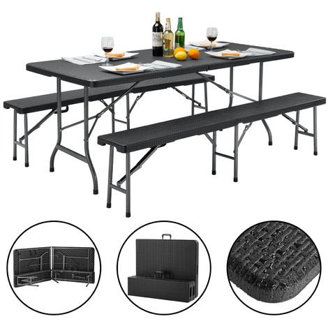 Casaria 3 pcs Beer Bench Table Set Camping Furniture Folding Benches Rattan Effect