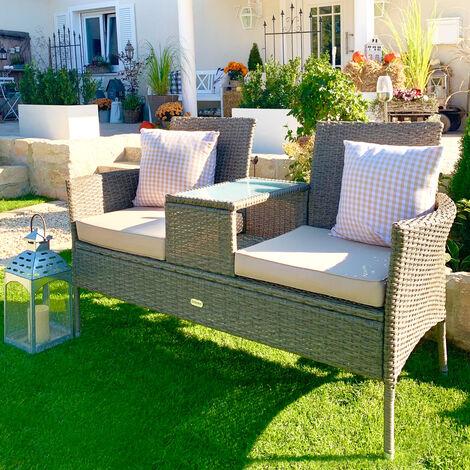 Casaria Poly Rattan Garden Bench 2 Seater Cinema Bench Cushions Glass Table Weatherproof Park Garden Bench Cream