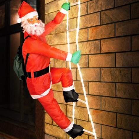 Deuba Santa Claus on a ladder / XXL 240 cm (95 IN) / Indoor and Outdoor / 8 light functions / Santa Claus figure decoration Christmas LED