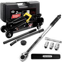 Car Jack Trolley 2T Torque Wrench 1/2' 6 pieces Set Hydraulic Garage Workshop